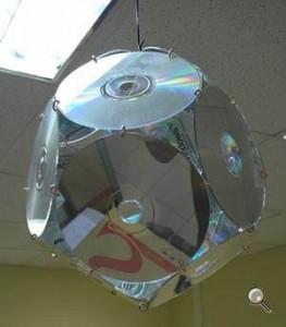 люстра из дисков CD
