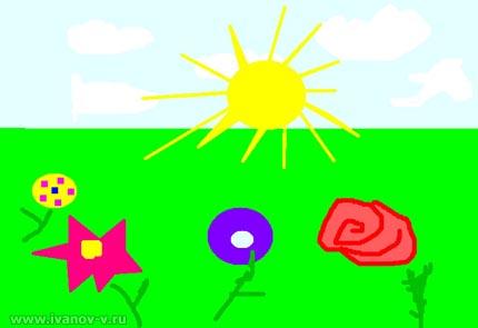 """детский рисунок """"Поле цветов"""""""