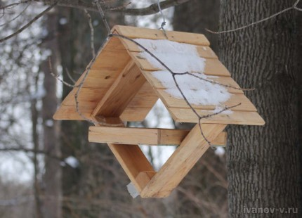 необычная конструкция кормушки для птиц