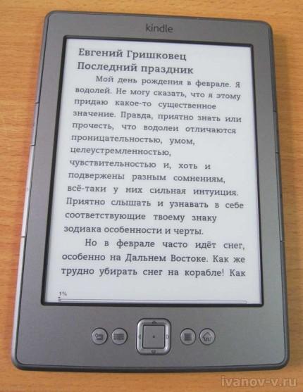 экран электронной книжки Amazon Kindle