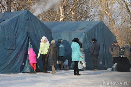палатки для обогрева купающихся в мороз