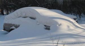 под снегом зимой